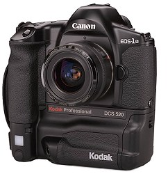 kodak dcs 520, canon eos d2000 dslr vintage digital camera 1998
